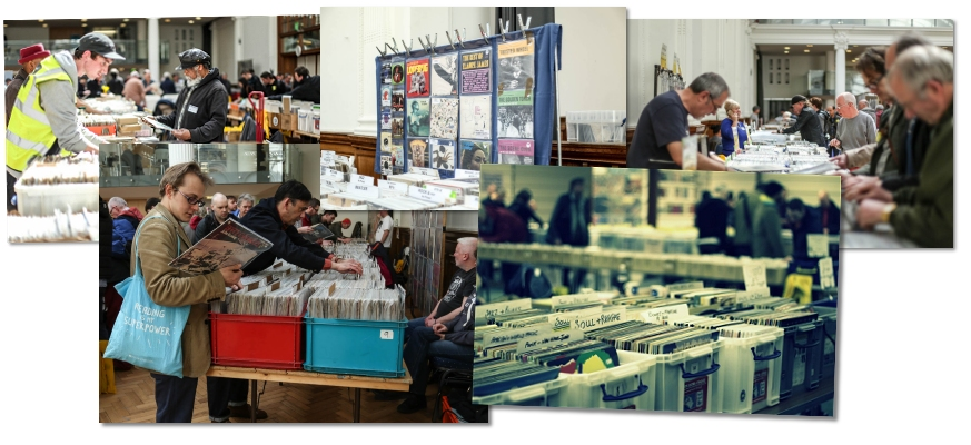 stallholders and buyers at a VIP record fair